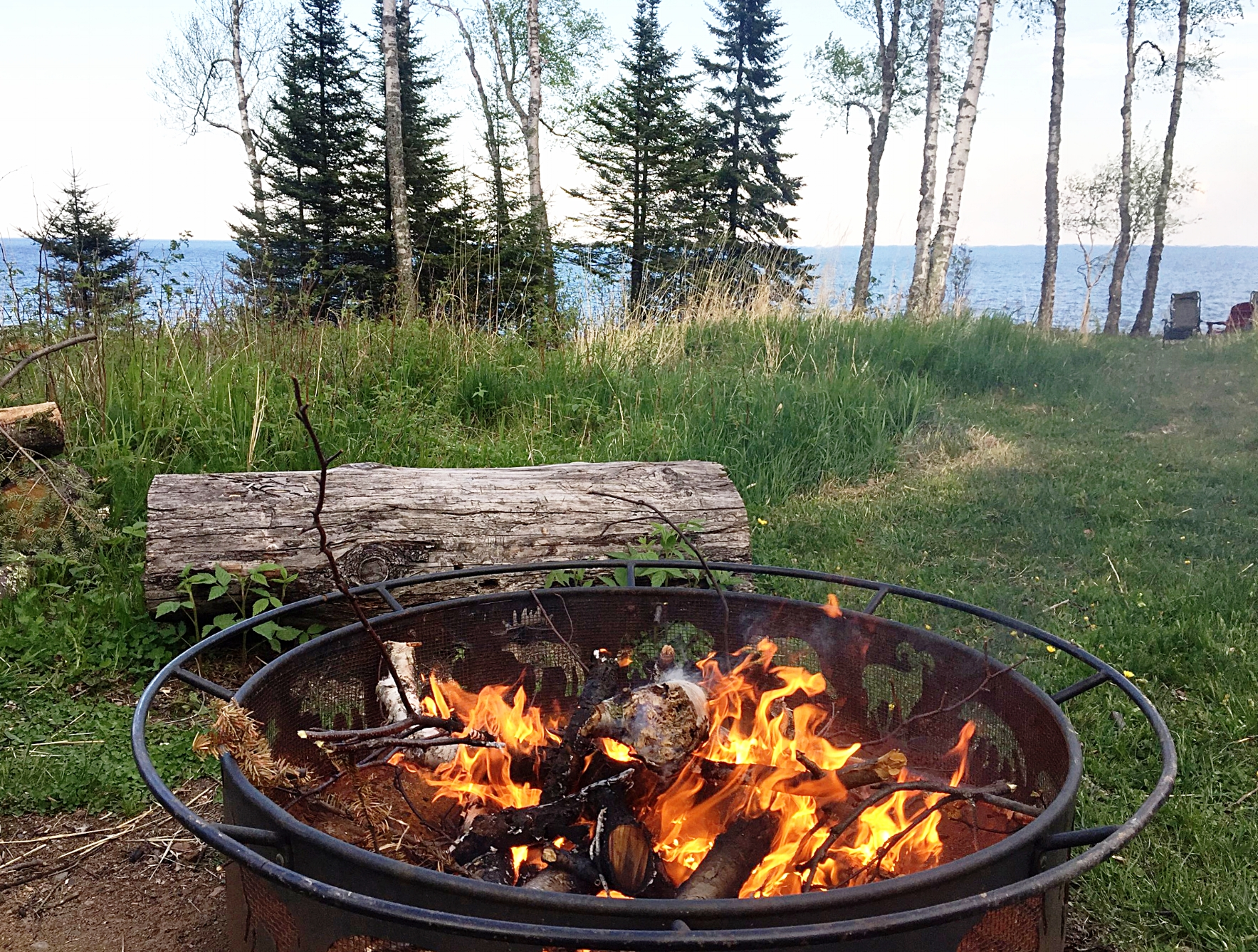 imagine roasting marshmallows at a campfire on lake superior.