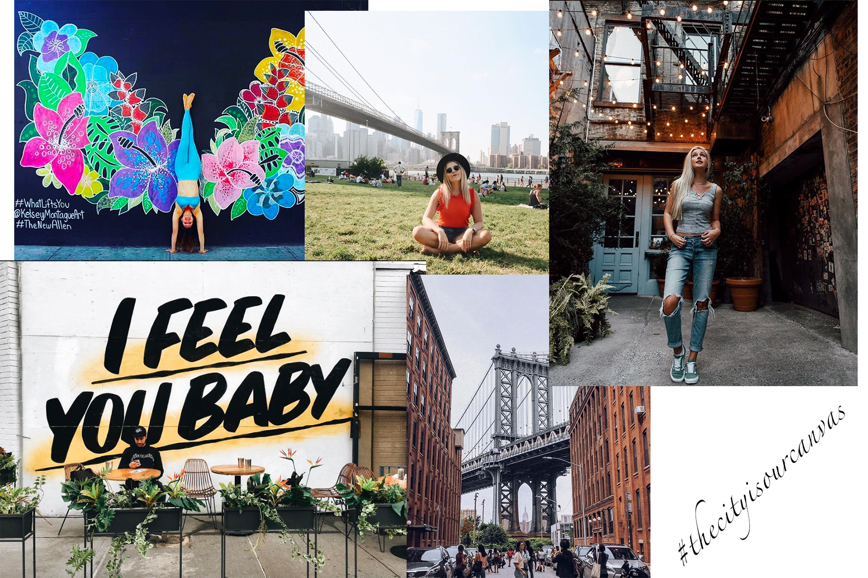 Wings on Allen, DUMBO Waterfront views, Freeman's Back-Alley, Feels at Baby Brasa & the GG Money-shot (PC:  Carterfish  ,  Chanelle_maaa ,  Sportnastya ,  Msannilange ,  Kelseymontagueart )