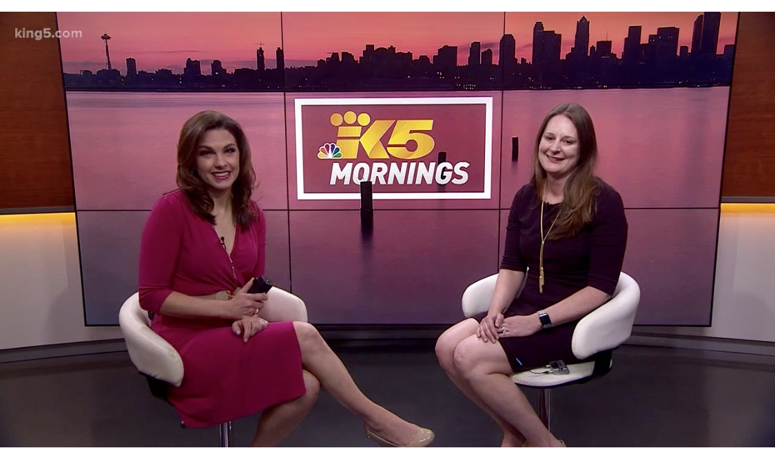 On King5 Mornings with Amity Addisi discussing PNWF's Yoga for Fertility Event for Mother's Day
