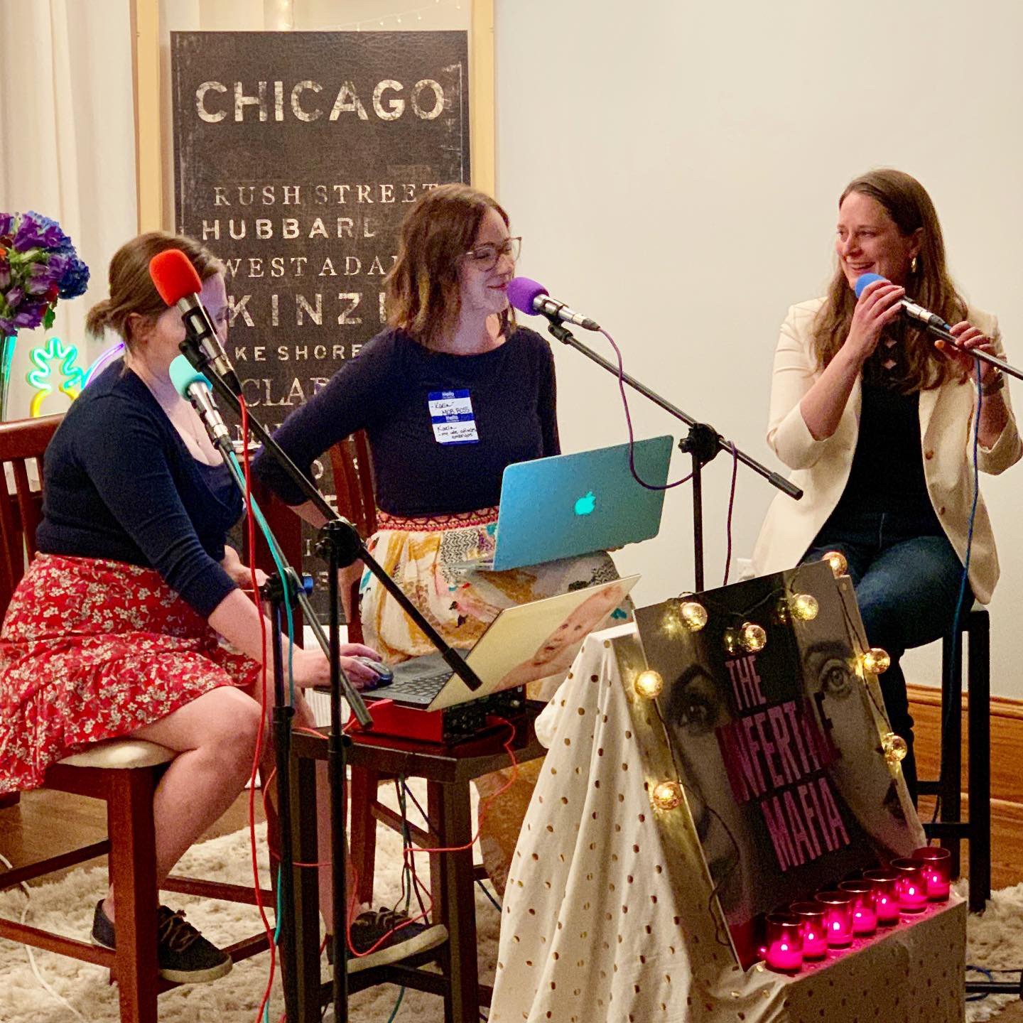 Recording a live podcast with Sarah and Kaela from Infertile Mafia!