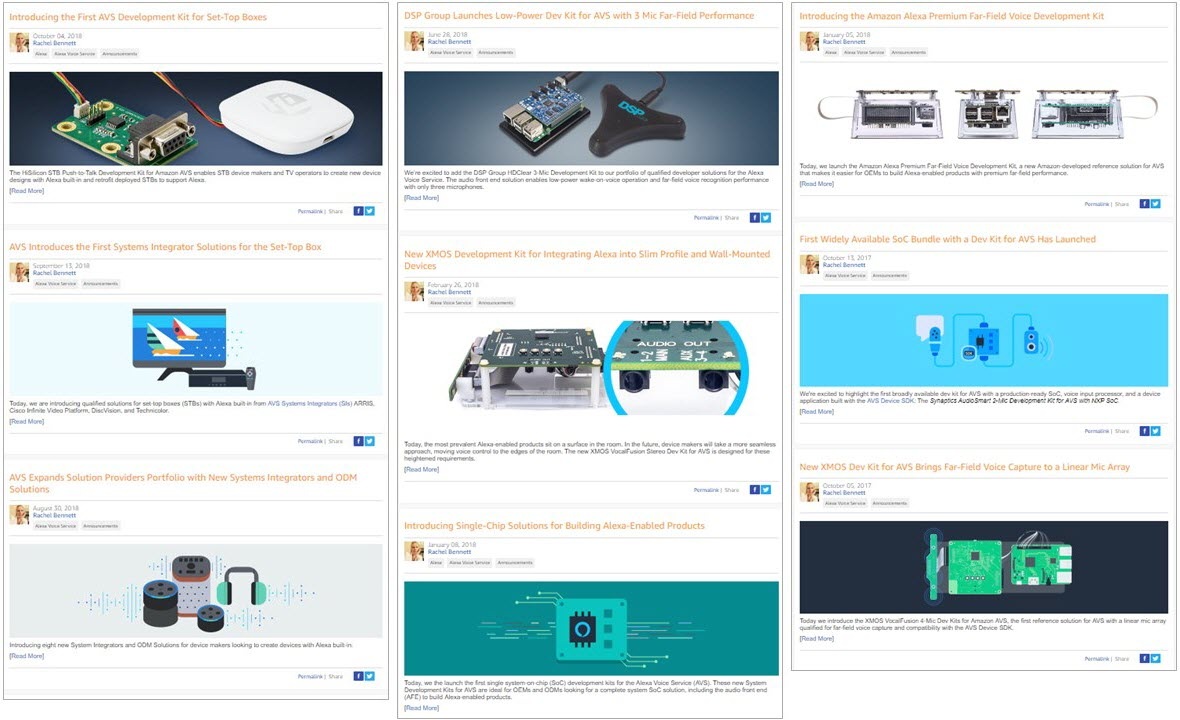 Blog articles i authored for the amazon developer blog