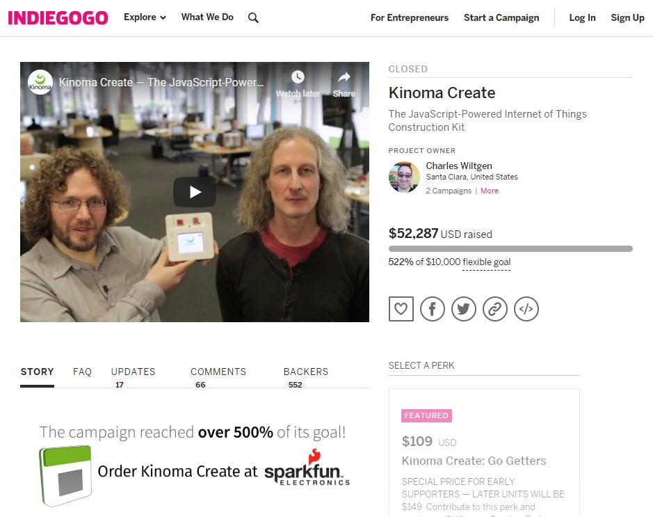 indiegogo page for kinoma create