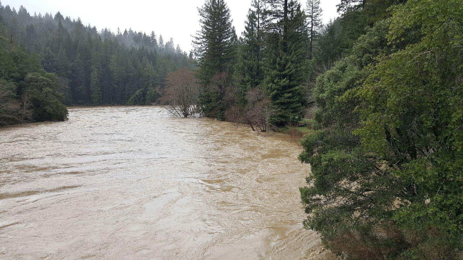 This picture was taken by Jamie Bowers on February 10, 2017 from the HWY 1 bridge at Mill Bank on the South Fork Eel River near Legit, Ca.