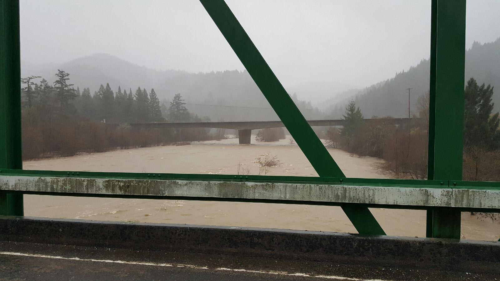 This picture is from Jamie Bowers on February 10, 2017 of the South Fork Eel farther downstream in Piercy, Ca.