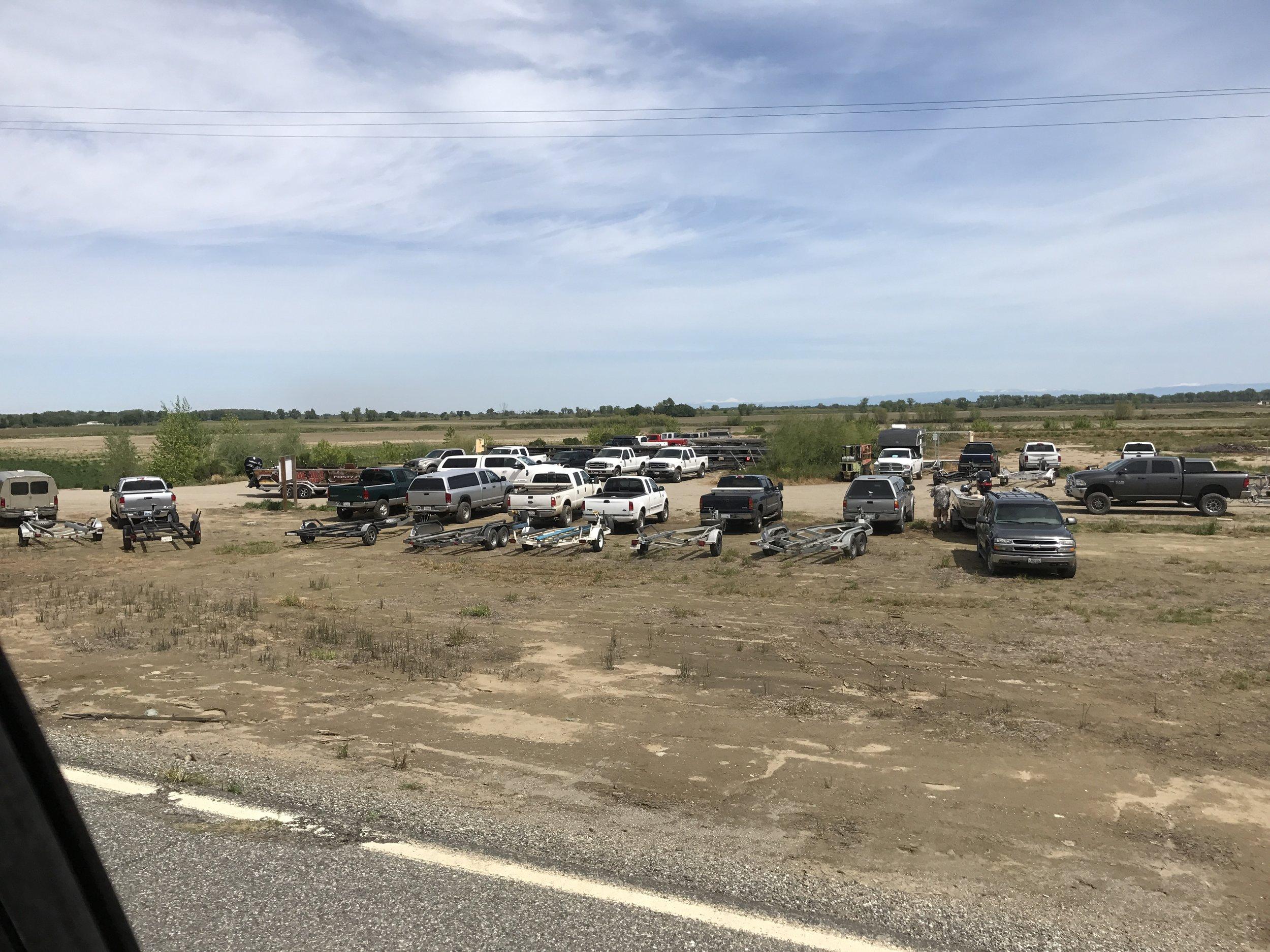 Parking lot at Steelhead Lodge  colusalanding.com on Saturday April 15, 2017 in Colusa, Ca on the Sacramento River.