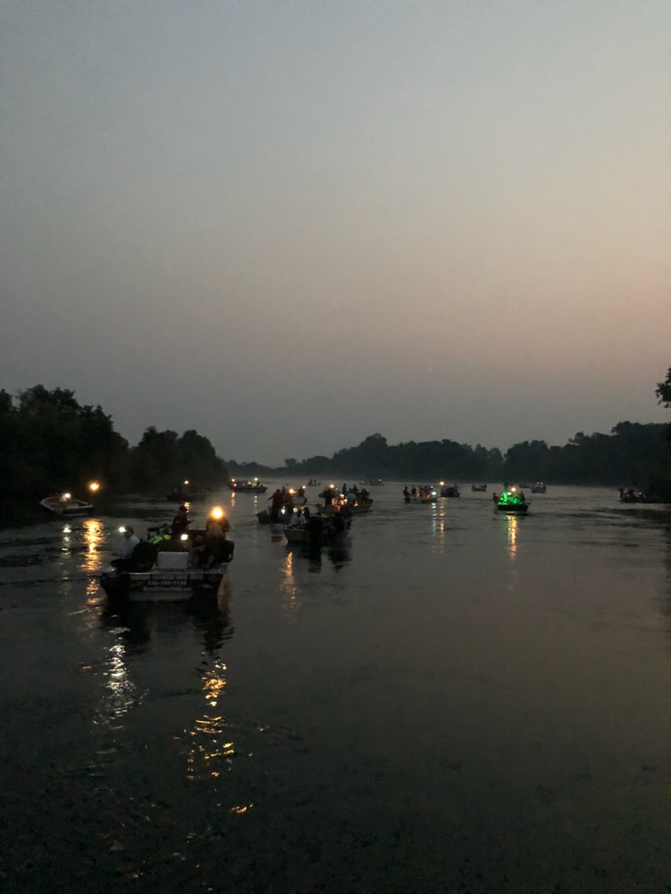 "Salmon fishermen from all over California and guest from all over the United States and even outside our country, visit the famous ""Barge Hole"" annually to catch Sacramento River king salmon. This picture reflects the image seen by anglers just after legal fishing time on August 1, 2018. Photo credits to Christopher Tocatlian."