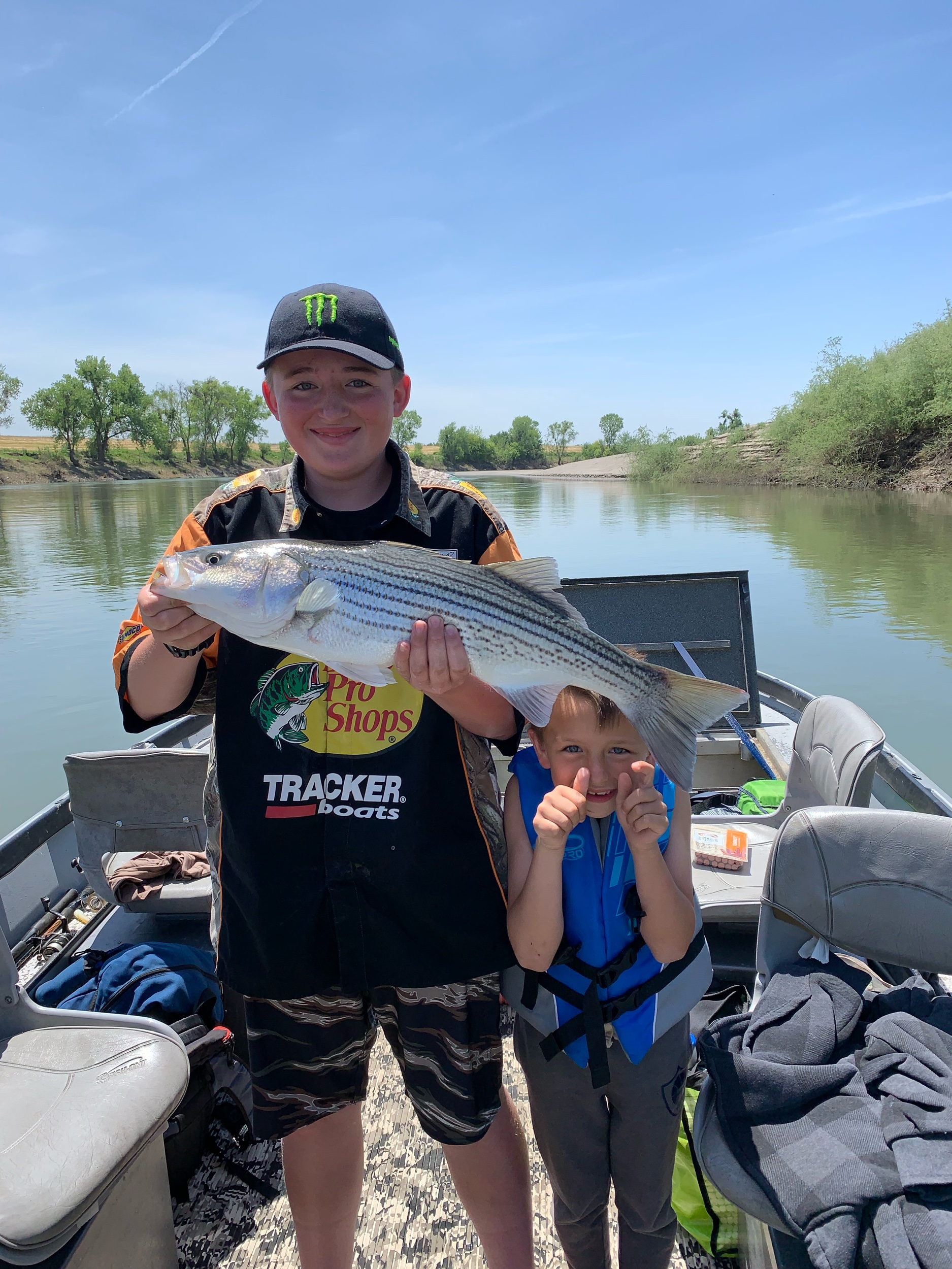 Connor and Carson Ortiz from Placerville, Ca enjoy a day of striped bass fishing with  SalmonSacRiver.com  fishing guide Mike Rasmussen.  Mike's Fishing Guide & Charter Service For Sacramento River Fishing targeting King Salmon, Sockeye Salmon, Striped Bass, Sturgeon, Shad And Trout the best Sacramento River Fishing guide and Sacramento River Charter on Sac River