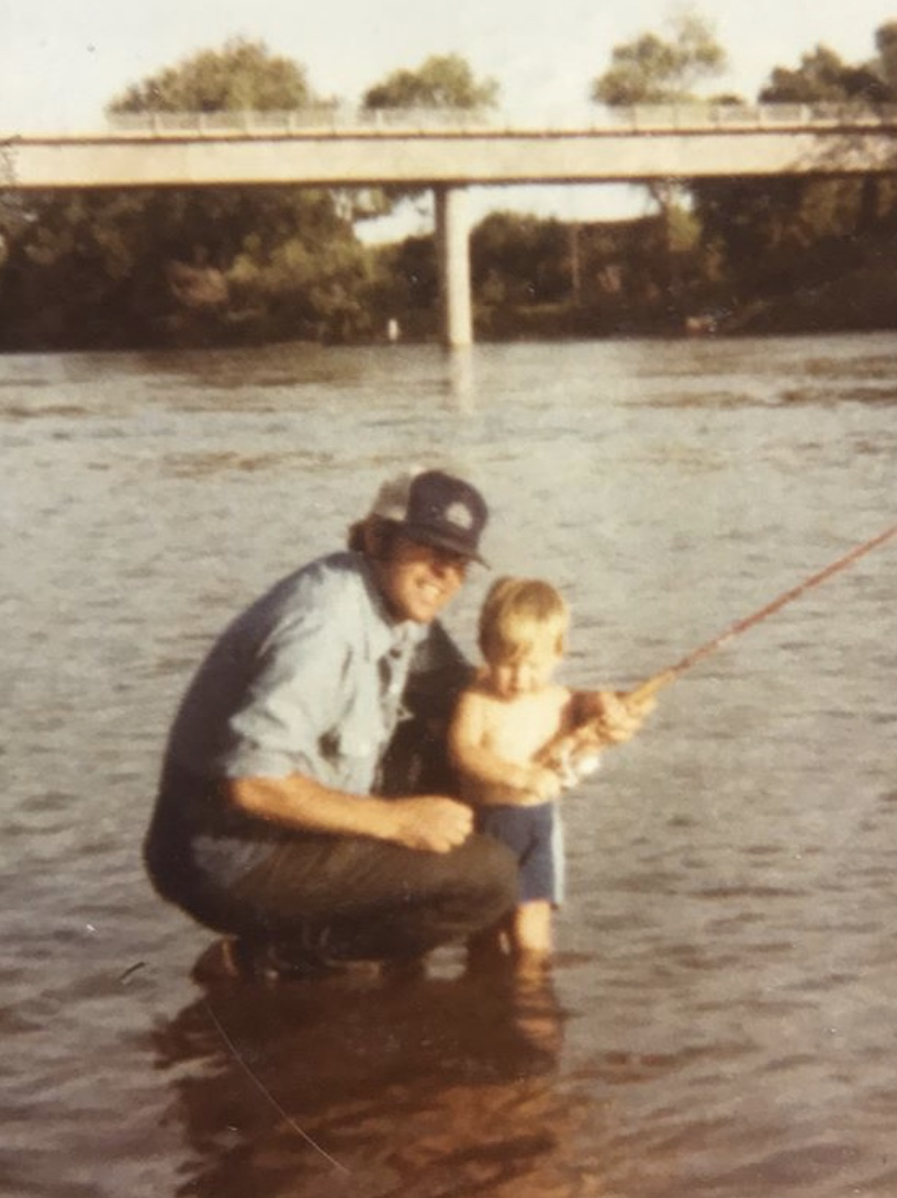 This photo of Sacramento River Fishing Guide Mike Rasmussen at age 3 years old was screenshot of his Instagram  https://www.instagram.com/p/BeYiXiClnht/?igshid=huw14g7ojly3  . This picture was taken at Woodson Bridge on the Sacramento River near Corning, Ca around 1980. Father Richard Rasmussen helping his son learn to fish for American Shad on the Sacramento River.