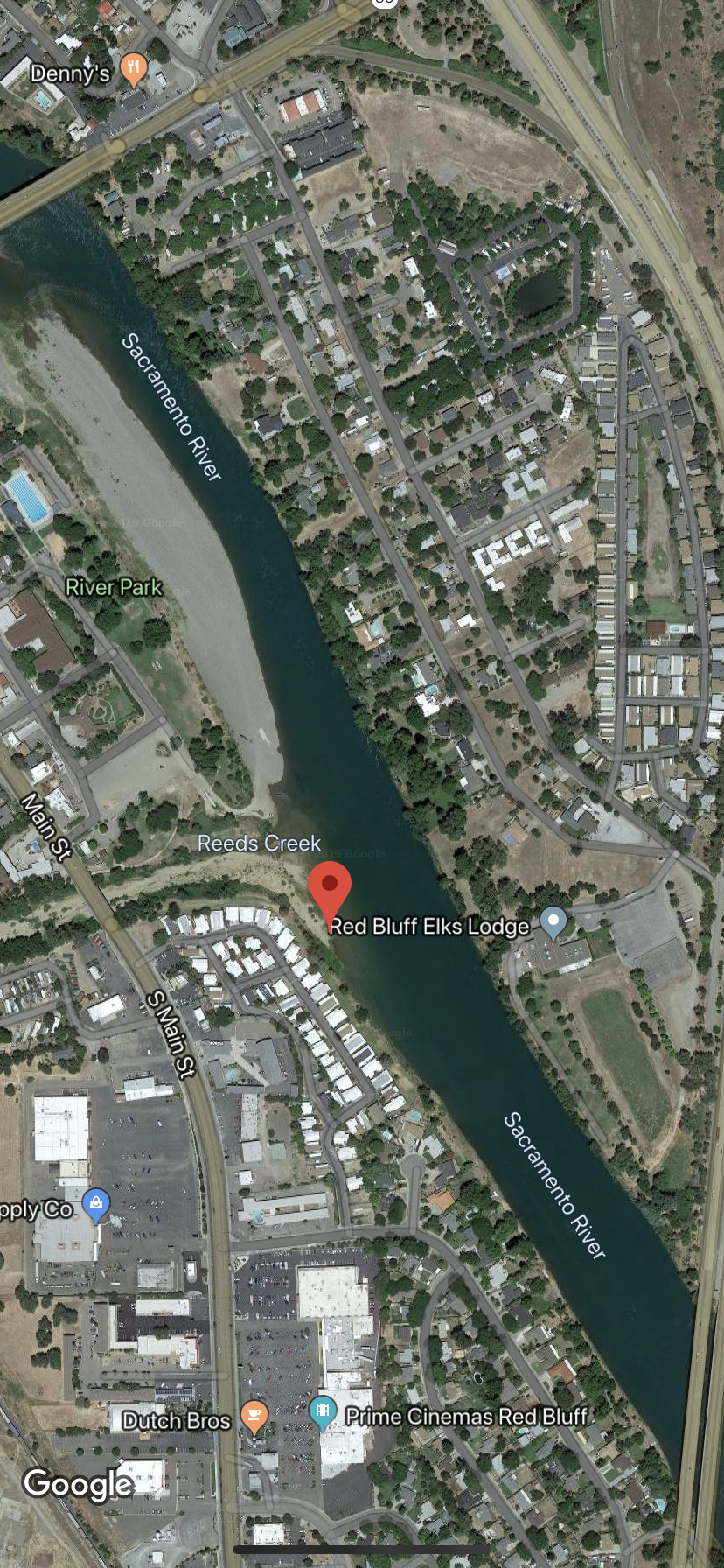 This image screenshot of Google Maps shows the location of a large school of American Shad. That can be easily targeted by bank anglers, or private boat owners. For the dropped pins exact location visit Google Maps  https://goo.gl/maps/SLv3MMPtr5Pf2YAB9  .