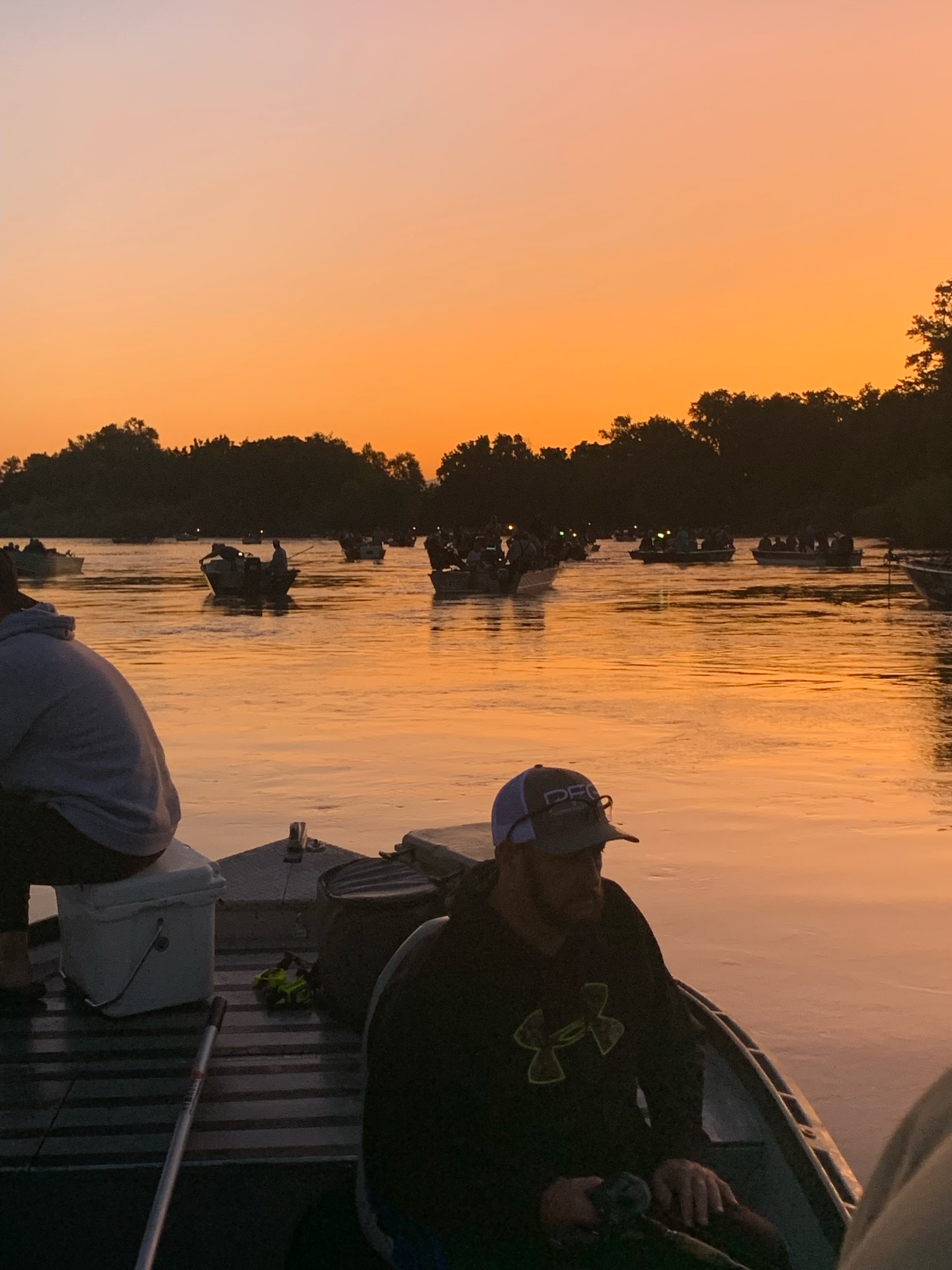 The scene from the August 1, 2019 salmon season opener at the Barge Hole near Cottonwood, Ca in Northern California.