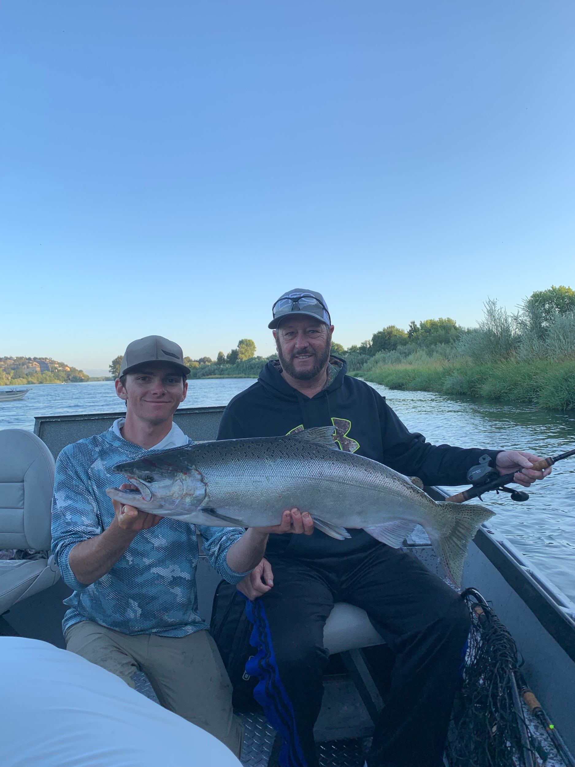 This beautiful King Salmon being held by fishing guide Ryan Tripp. Was caught by Jeff Weir from Fairfield, Ca on opening day. Jeff was fishing on board the  salmonsacriver.com  fishing charter on opening day at the famous Barge Hole.