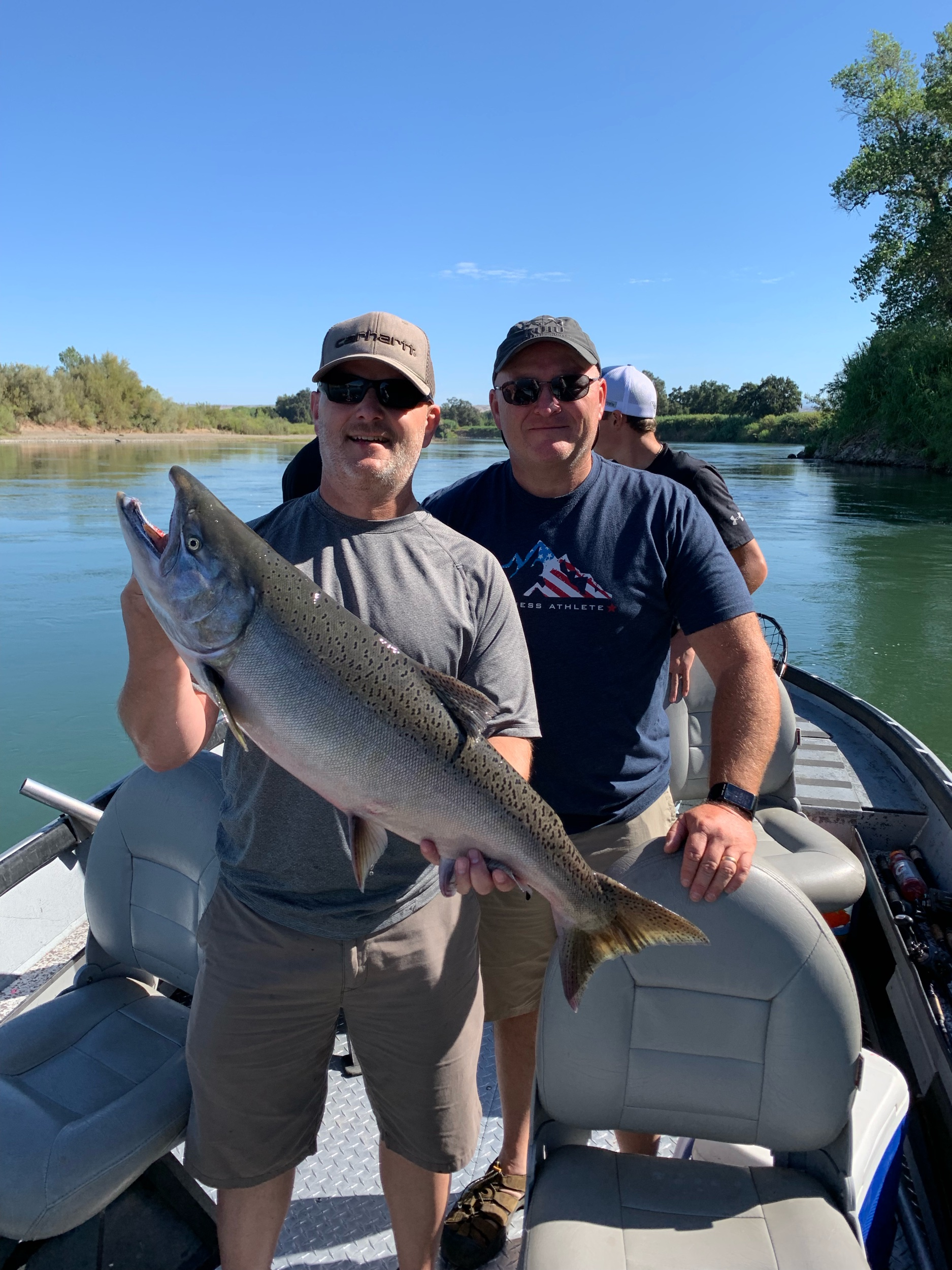 This hefty male chinook salmon was caught on September 3, 2019 by guest Jeff Garrett. Pictured above with his brother Doug Garrett. Jeff caught this dandy king salmon while back bouncing cured salmon roe on the Sacramento River near Red Bluff, Ca.