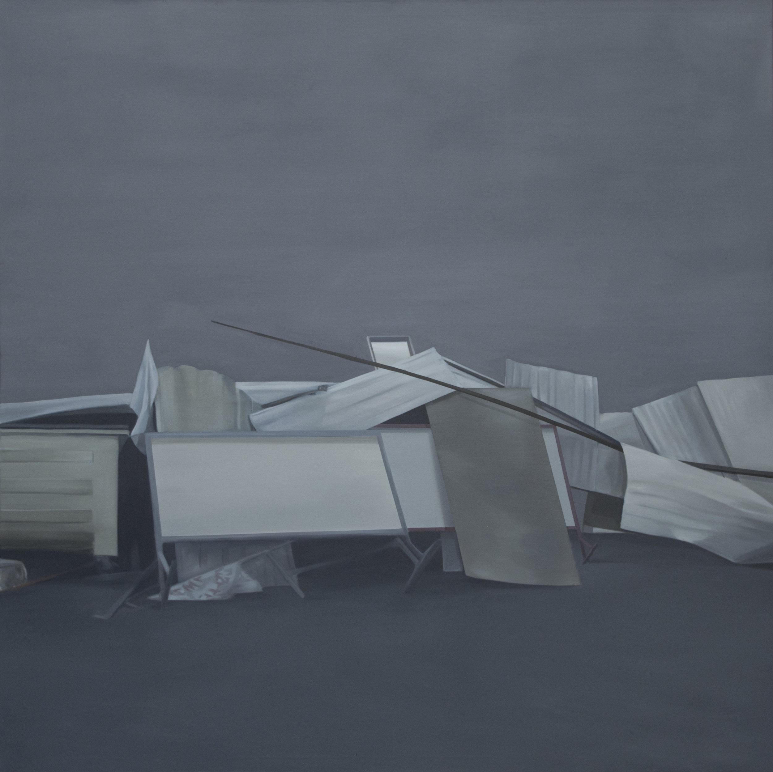 Barricade, oil on canvas, 180 x 180cm, 2017