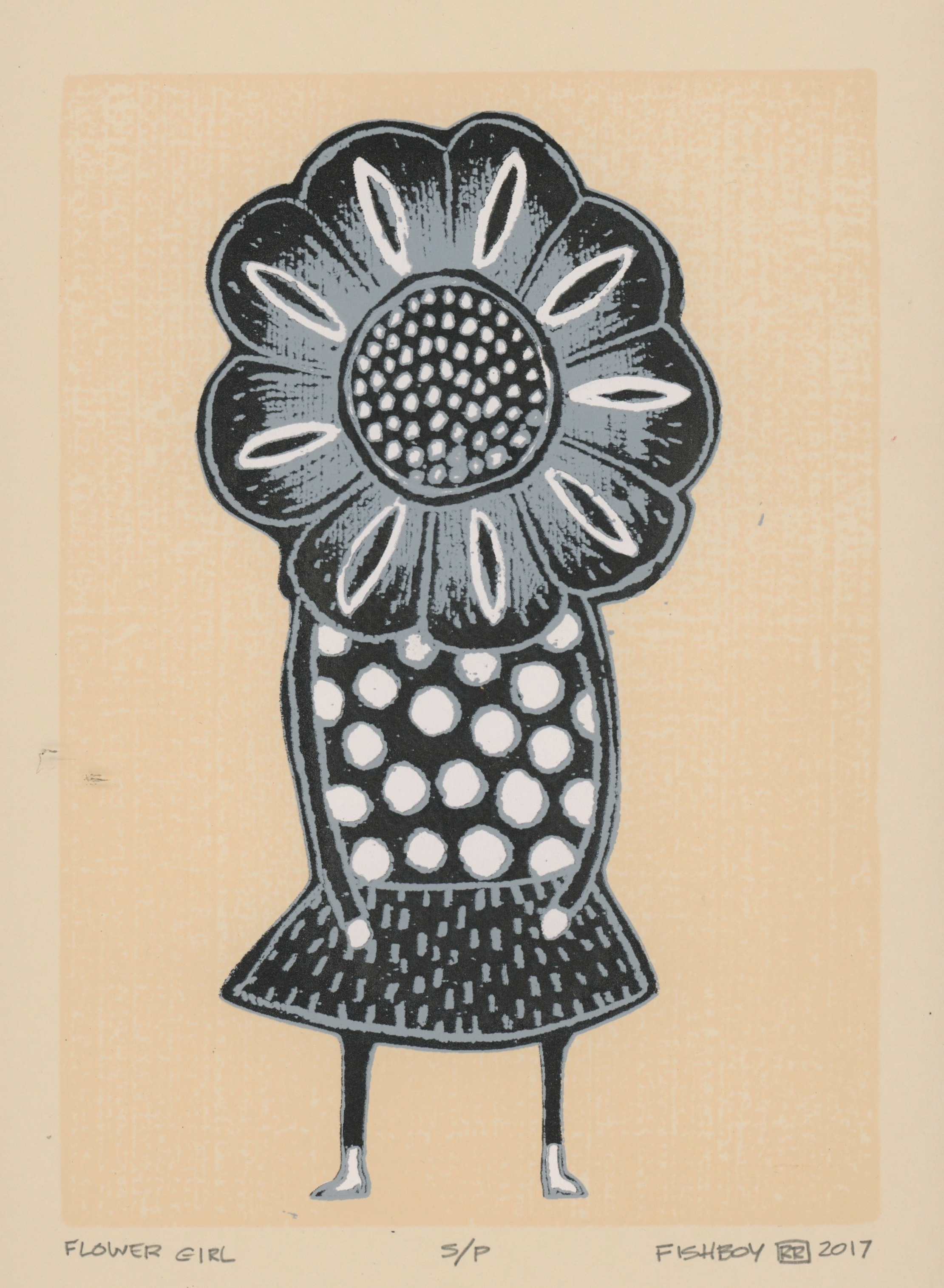 Flower Girl - A four color screen print on buff fabriano paper. This image is an adaptation of an acrylic Fishboy Painting. Proofs currently available. For more information on works by Fishboy, please visit his website.
