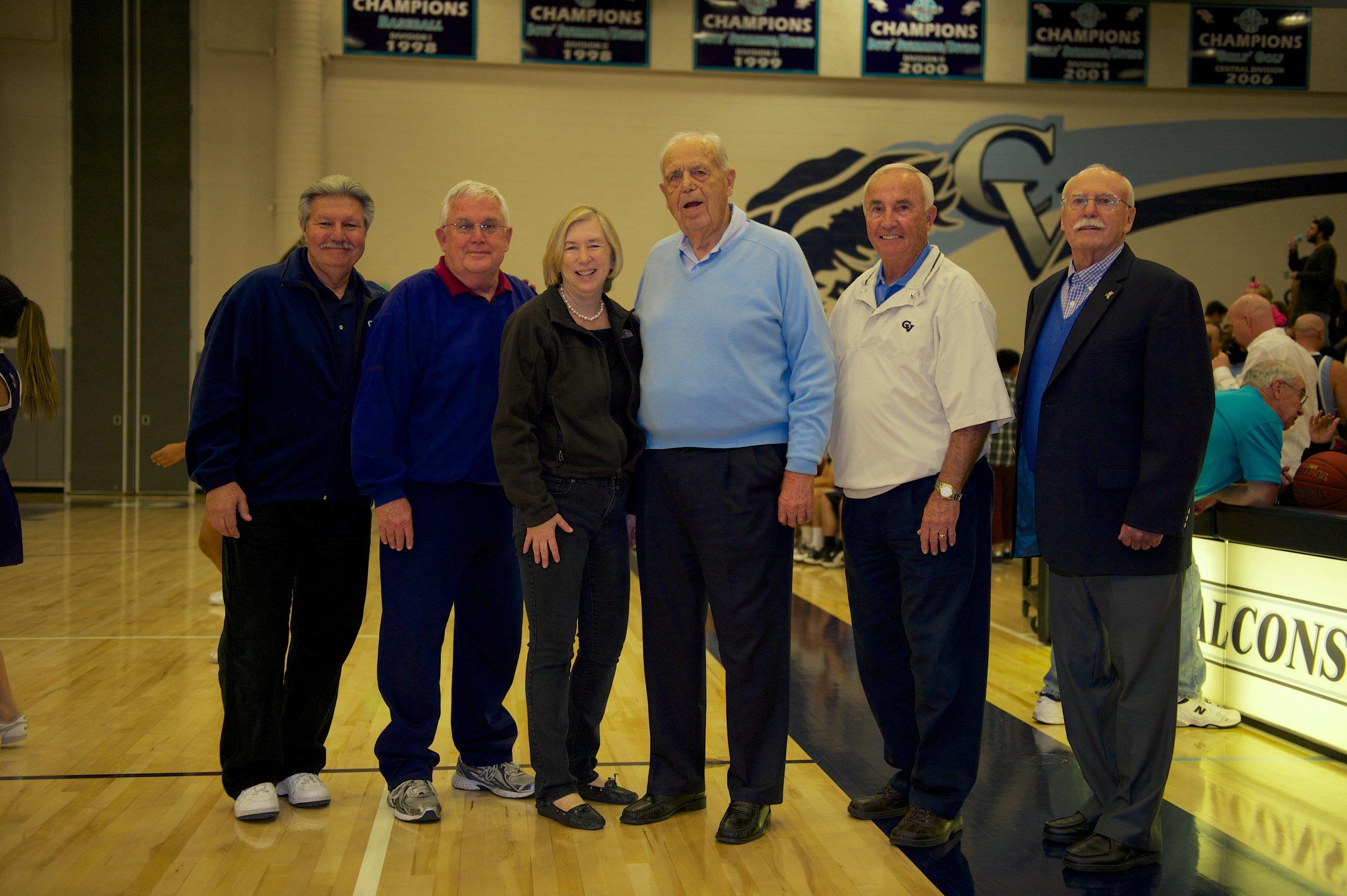 Dr. Bill Thomas (3rd from Right) with all former CV principals (L-R)Mike Livingston, Gary Talbert, Linda Evans, Ken Biermann and Sam Nicholson.  Photo credit John Pehar