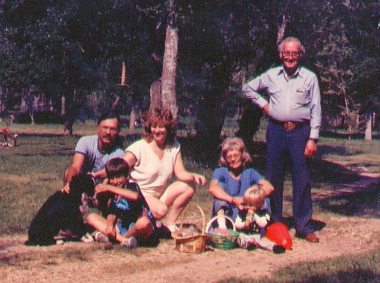 "Right to left: Robert A. ""Bob"" Ball, Lucien Ball, Anne Loftin Ball, Melba Ball, Josh Ball, Robert V. Ball Easter 1986"