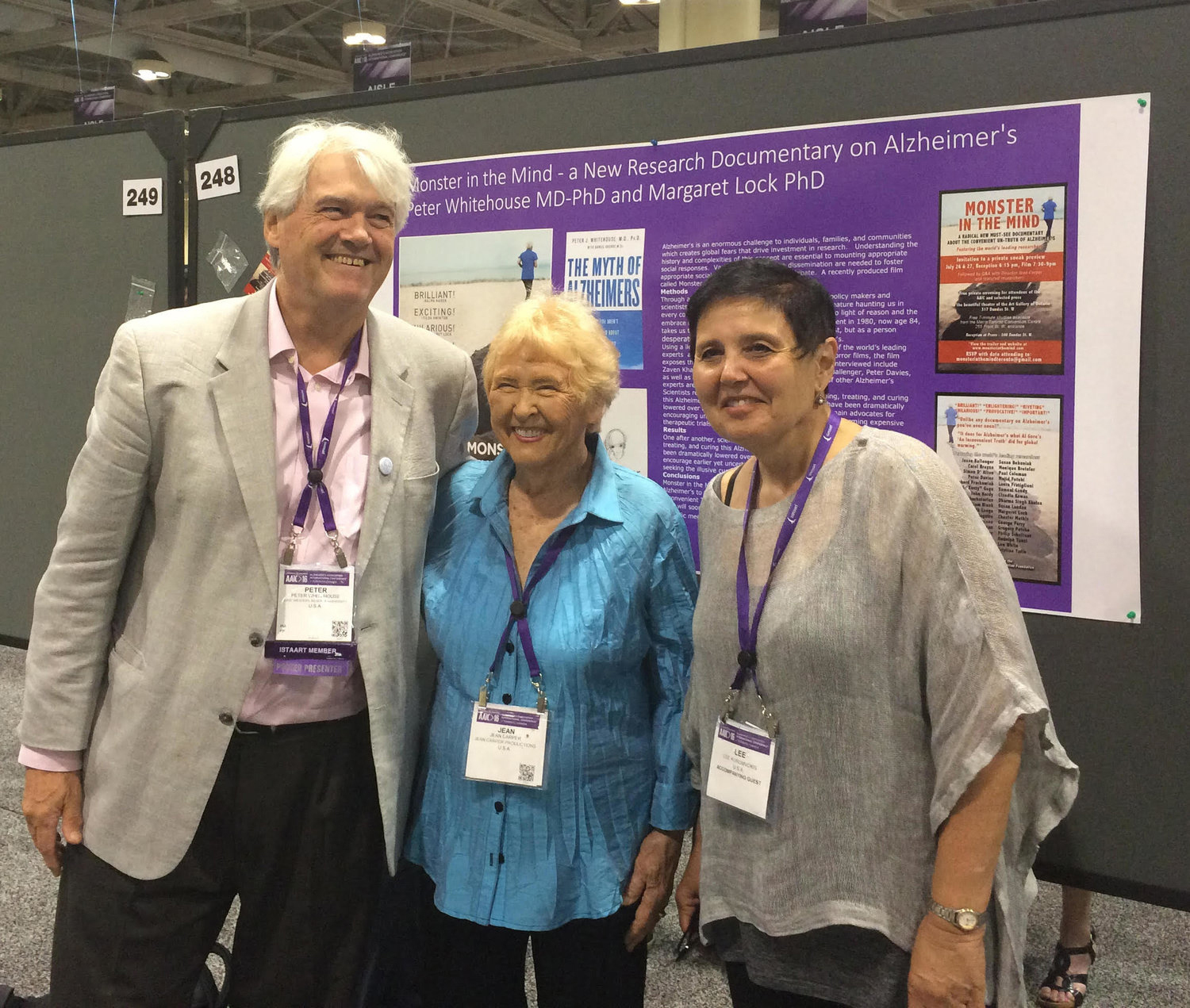 """Dr. Peter Whitehouse, left, pictured here with producers Jean Carper, center, and Lee Koromvokis presented a scientific paper on """"Monster In the Mind,"""" at the Alzheimer Association's International Conference in Toronto, 2016. (Photo by Kirti Khalsa)"""