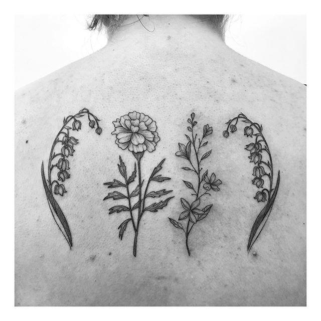 Flower power! 🌸 . Done: @inkandwatertattoo . . . . #floraltattoo #fineline #tattoos #tattoo #torontotattoos #blxckink #linework #drawing #flash #blackworktattoo #blackworkers #linework  #blackworkerssubmission #flowers #wildflowers #downtowntoronto #blacktattoo #artist  #tattooartist #delicate #prettytattoo #dotwork #flash #blackandgrey #femaleartist #tattoocollection #pretty #inkandwater #foliage