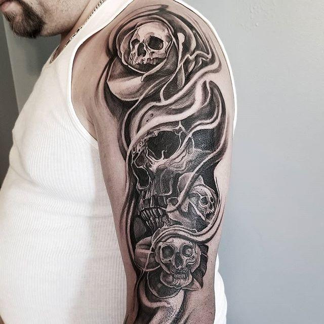 Skull with skulls 💀☠ #flash #tattooflash #tattooart #tattooillustration #torontotattoo #torontoart #tattoo #flashtattoo #ink #inkandwater #inkandwatertattoo #instatattoo #lifestyle #lifestyleblogger #6ix #shading #linework #blackandgrey #realism #skulls #skulltattoo #skull #inkedcircus #PrimalAttitude