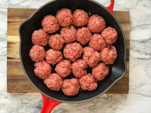 Uncooked, formed meatballs for Korean BBQ Inspired Meatballs | Keto, Low-Carb