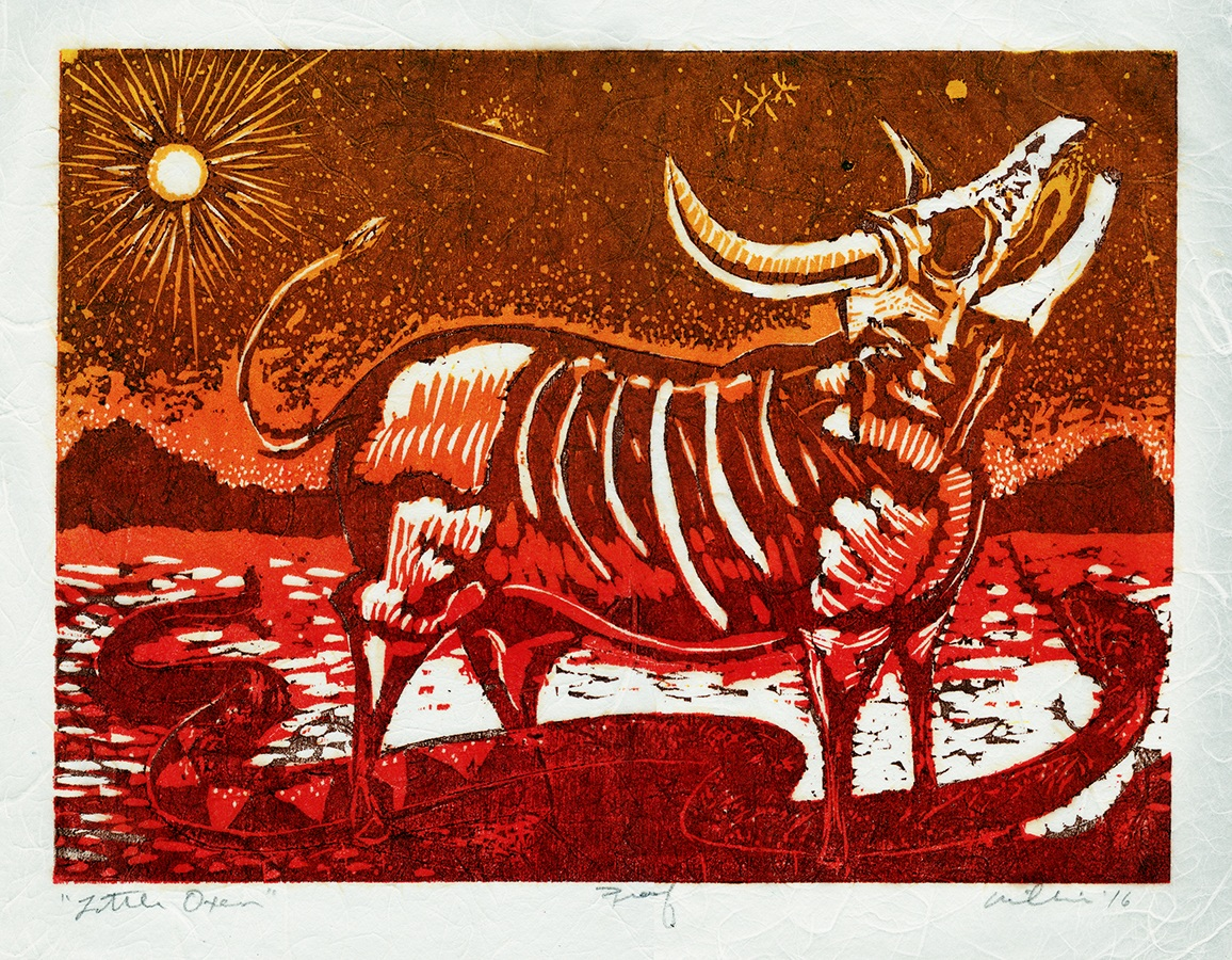 LITTLE OXEN   2016  COLOR WOODCUT  11 X14""