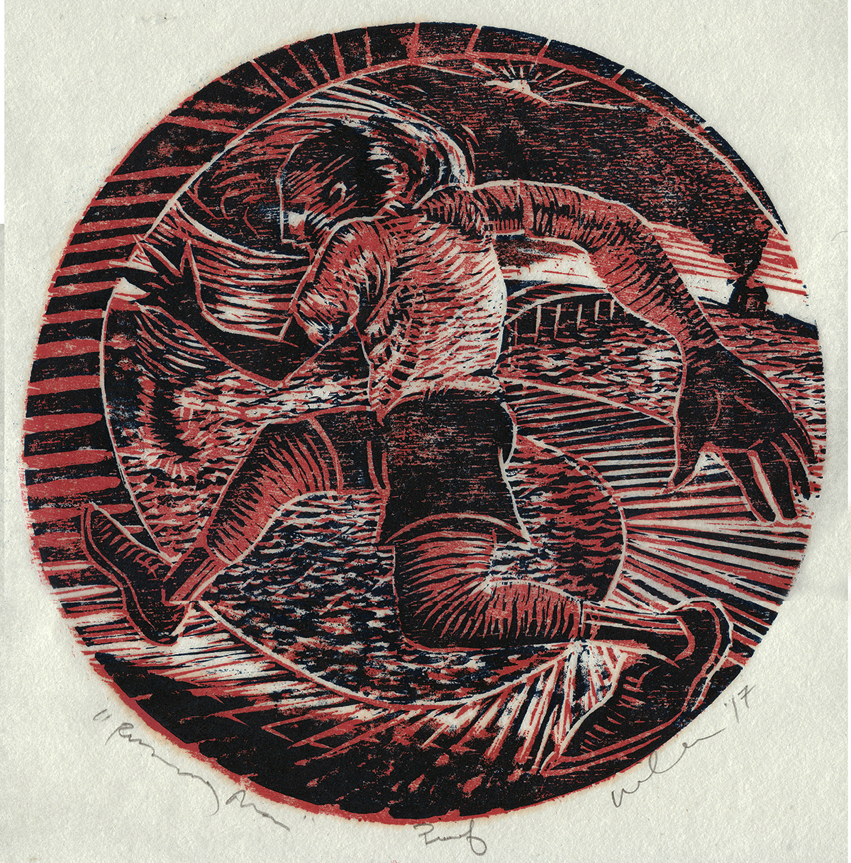 "RUNNING MAN    2017   CHIAROSCURO WOODCUT  12'"" DIAMETER"