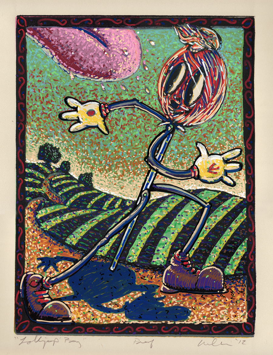 LOLLIPOP BOY    2102    HAND COLORED LINOCUT    14 X 11""