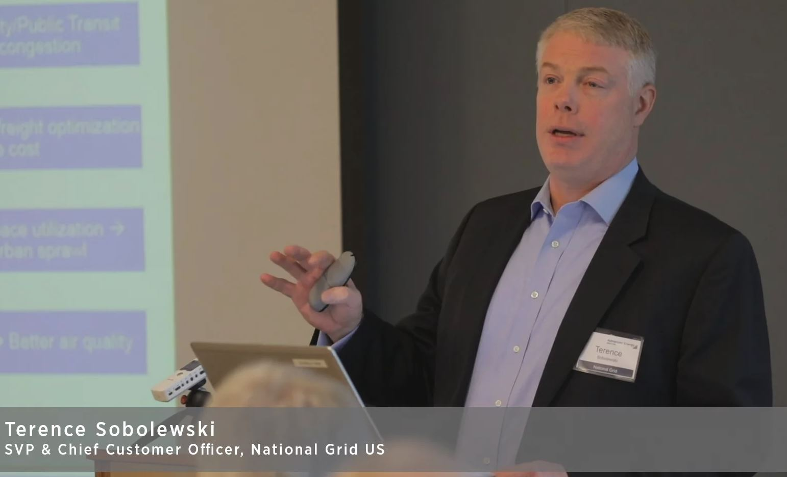 Terry Sobolewski, Chief Customer Officer of National Grid US, speaking at the  Boston Advanced Energy Q4 Stakeholder Breakfast