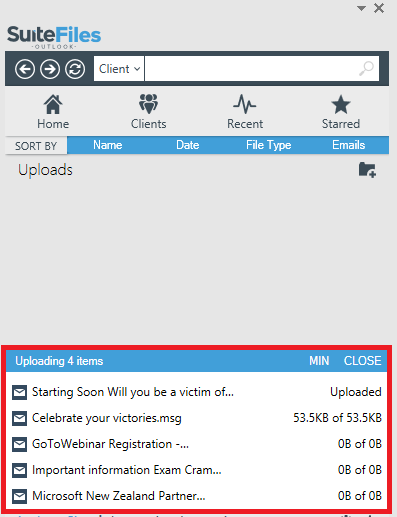Upload view when loading multiple items into SuiteFiles through the Outlook add-in.