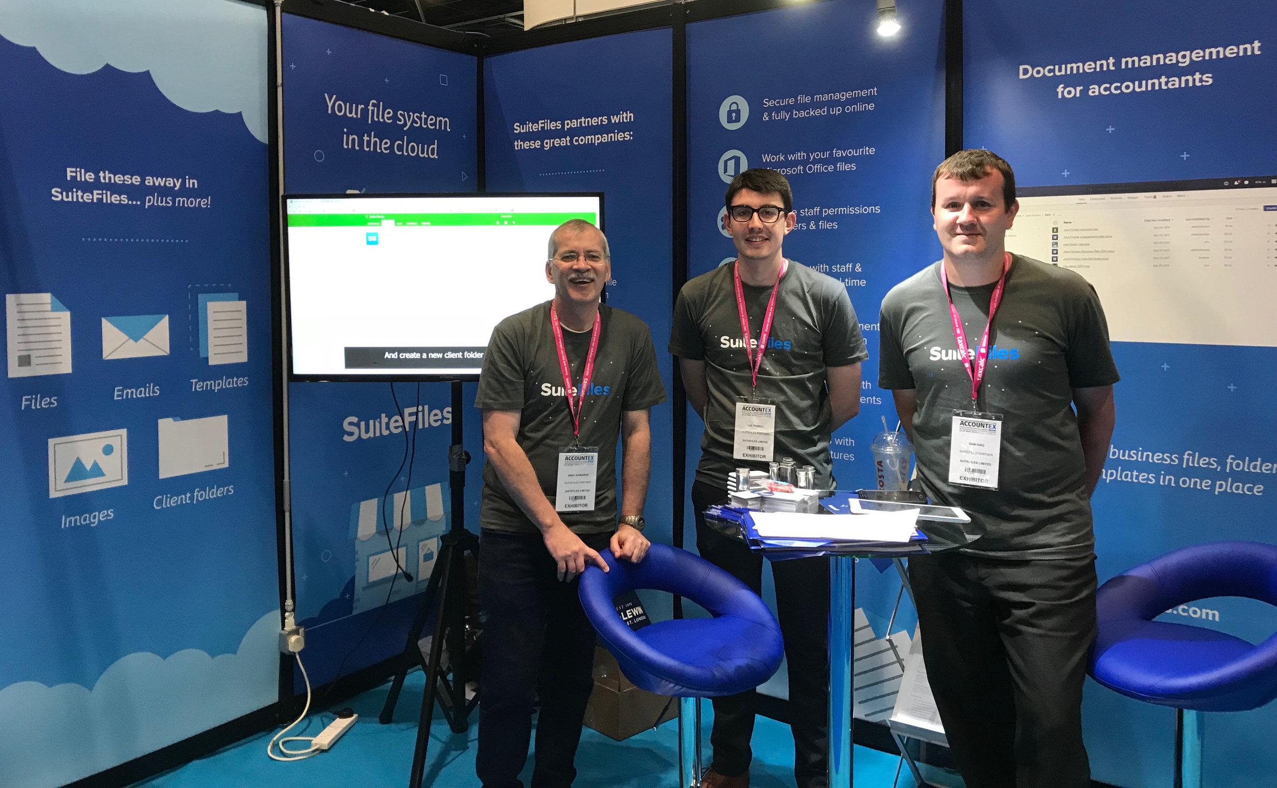The Bridge3 team manning the SuiteFiles stand at Accountex London 2018