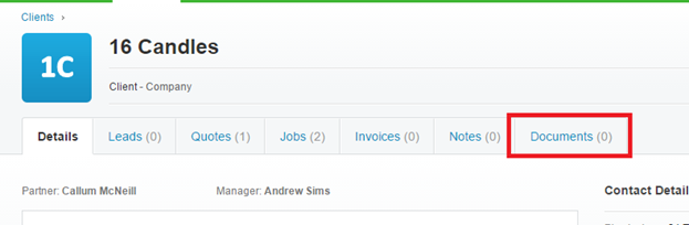 The documents tab in Xero Practice Manager
