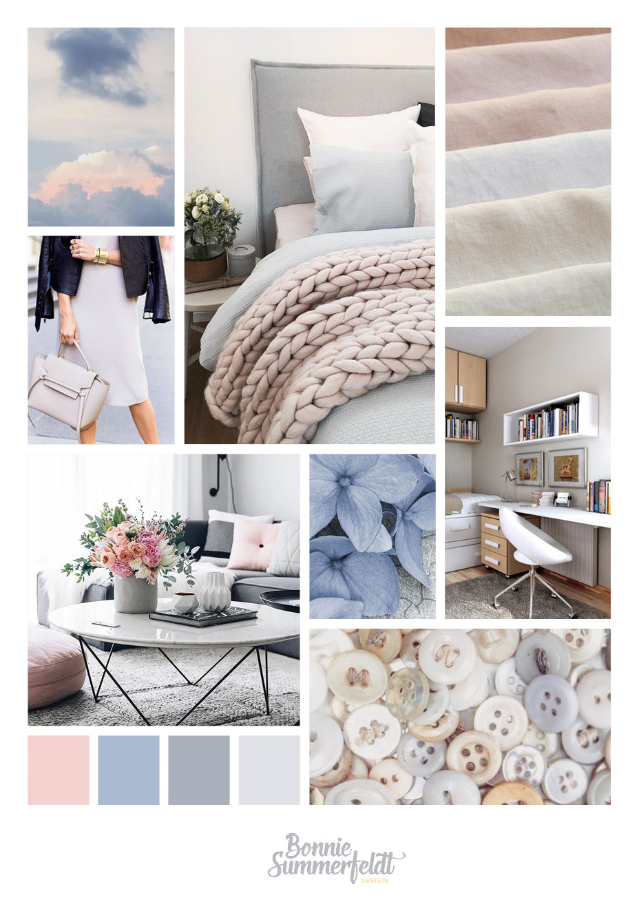 This moodboard shows the look and feel of the branding for Kathys new interior design business.