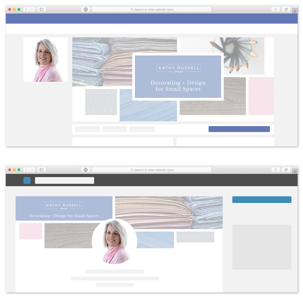 Custom designed social media cover images for Kathy Russell Design, interior decorating and styling. Design by Bonnie Summerfeldt Design.