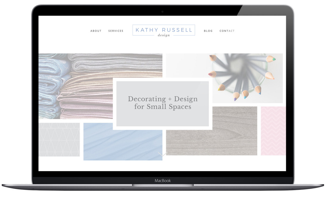 Homepage mockup of Kathy Russell design who specializes in small spaces and downsizing her clients in a way that makes it both functional and beautiful.