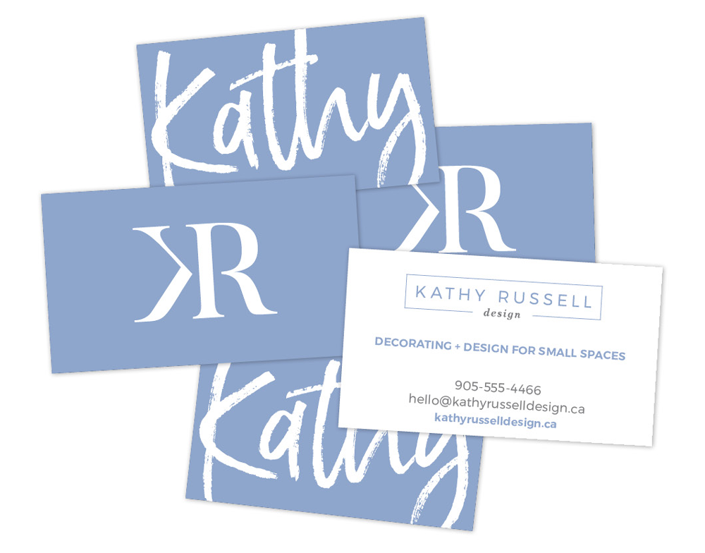 Business card design for Kathy Russell Design.