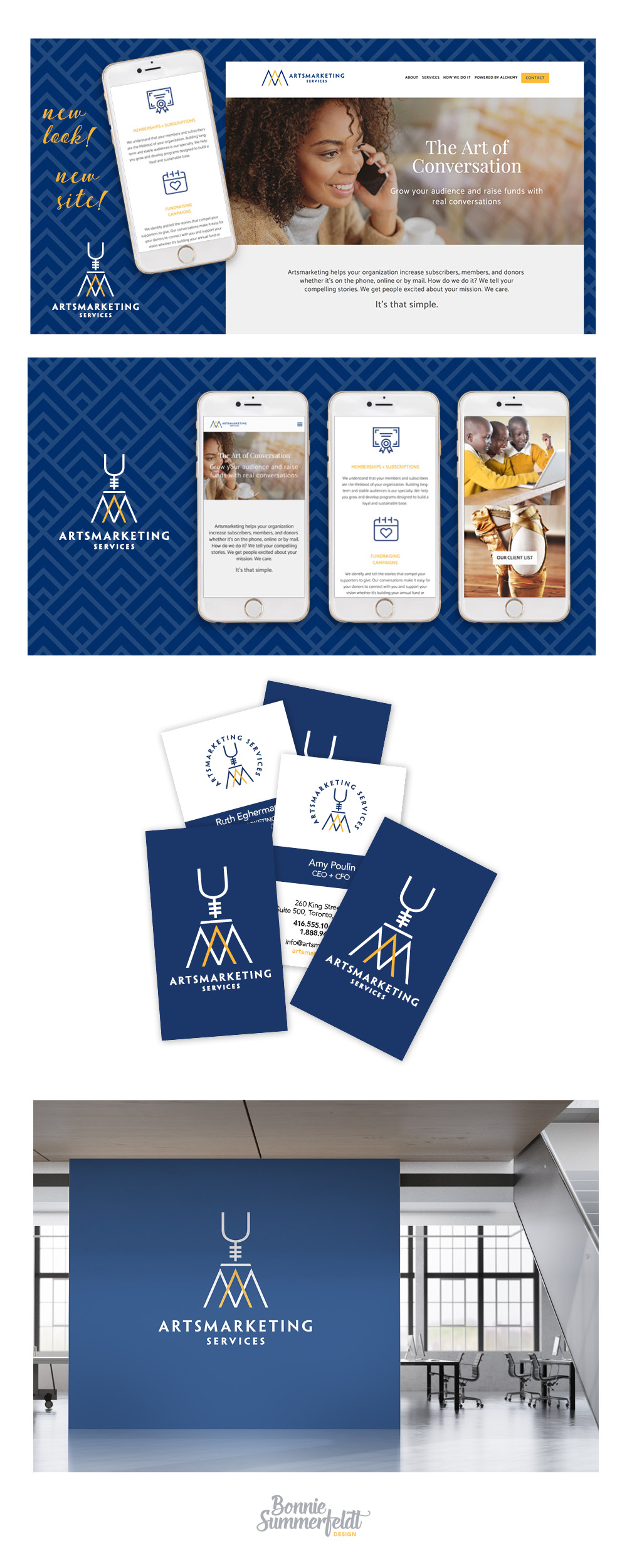 Marketing design and brand collateral design for Artsmarketing - a telemarketing company focused on helping nonprofits with fundraising using the art of conversation. Brand and logo redesign by Bonnie Summerfeldt. Serving Aurora, Newmarket and GTA Canada. Branding and logo refresh by Bonnie Summerfeldt Design – brand and website design for professional services such as consultants, therapists and advisors where credibility counts. https://bonniesummerfeldt.com