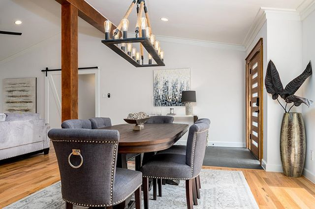Brushcreek Lane remodel project is complete! Congrats to the new homeowners! Photo 1 of 2... #modernfarmhouse #dallasrealestate #dallas #remodel #dining #diningroom #statementdesignbuild #art #barndoor