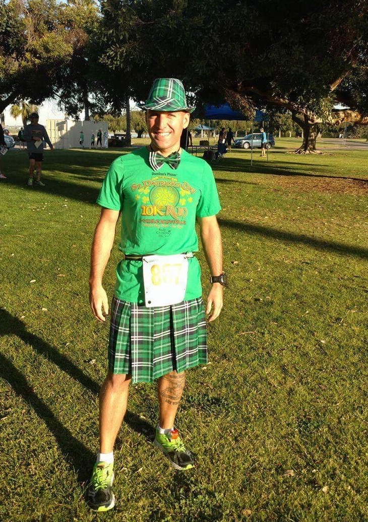 Some friends talked me into doing a fun run 10K, but I had to dress up. Believe me running in a Kilt is not easy.
