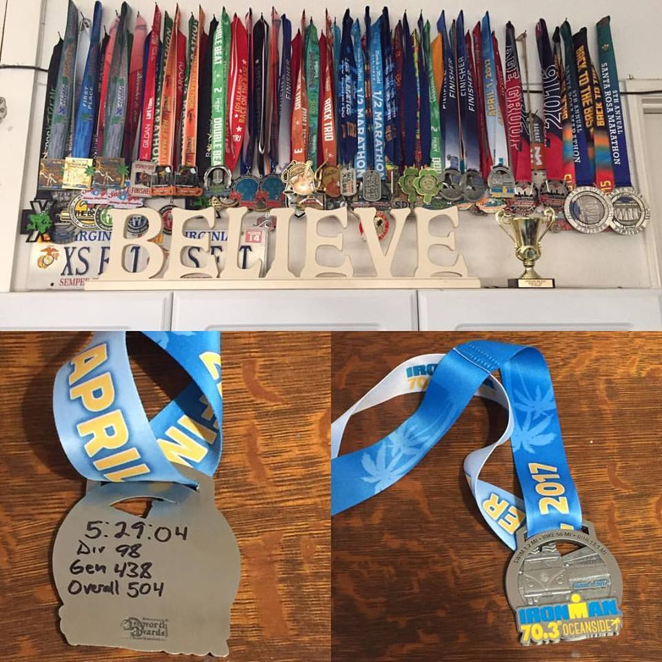 "This photo represents race medals that my wife and I have received from our time in Southern California these past 3.5 years. This does not include Obstacle Course Racing Bibs, such as Tough Mudder and World's Toughest Mudder. But the message is ""Believe."" Believe you can, and you will. It's not their race you race, but your own. Believe it."