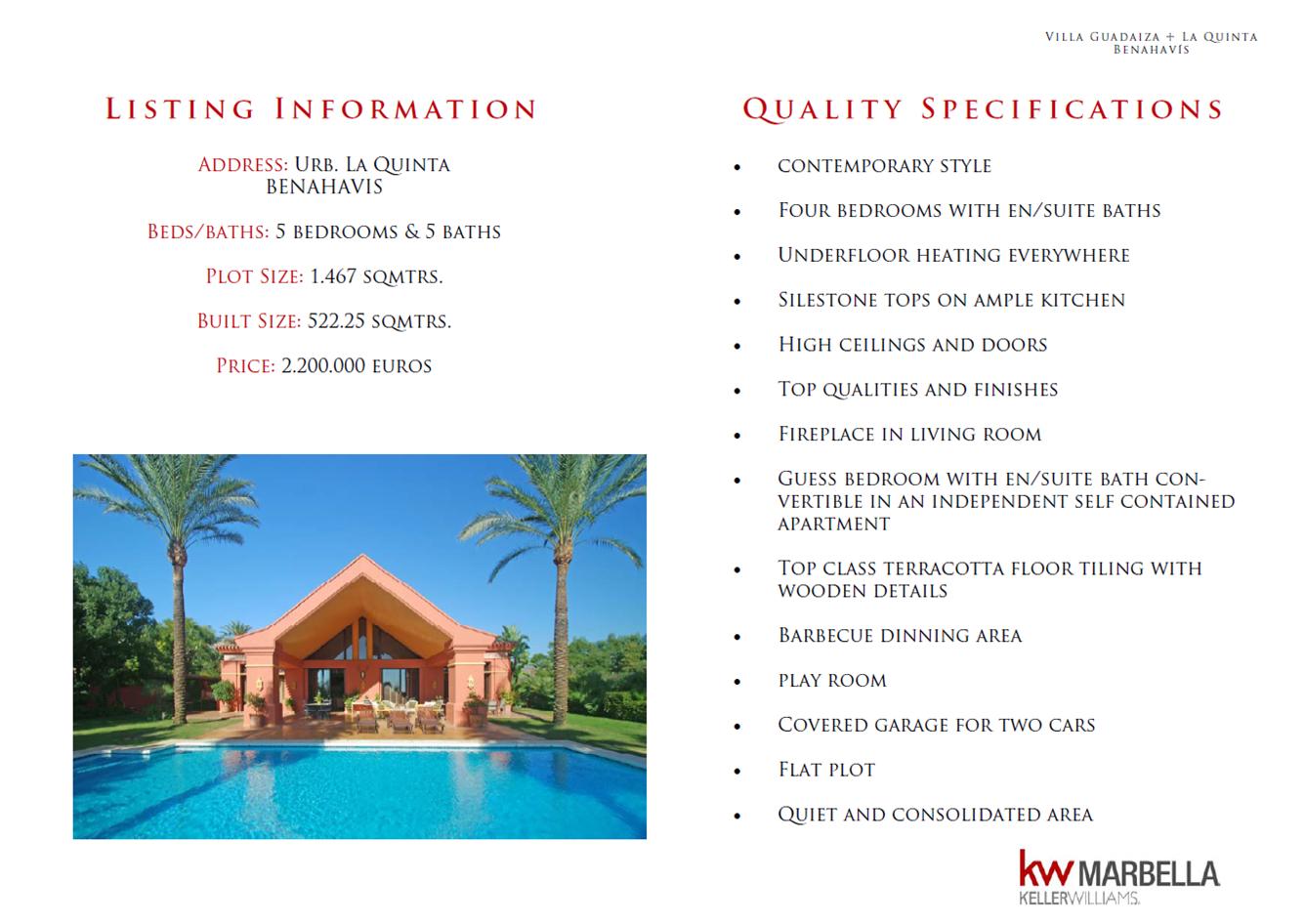 Folleto marketing villa en venta Benahavis