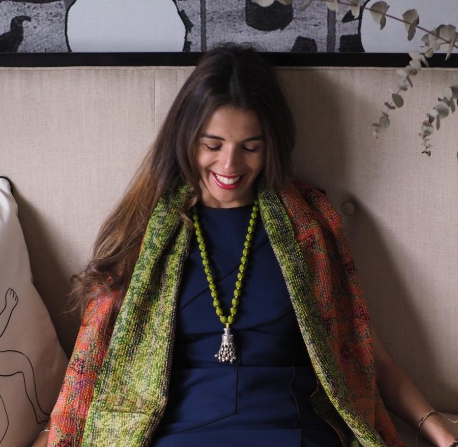 Banjara Sari Necklace - Lime Green/Yellow