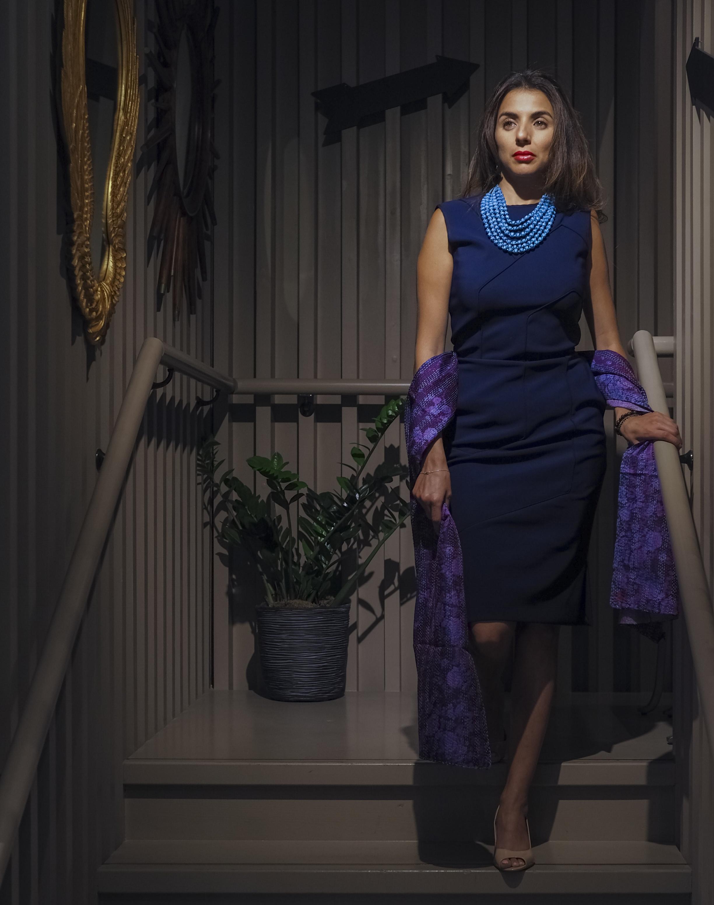Six String Sari Necklace - Teal