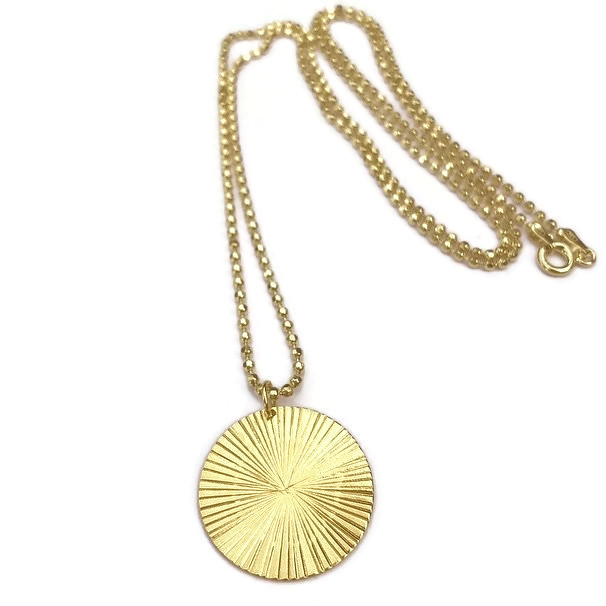 RAW Copenhagen Sun Ray Necklace, handmade pendant made from gold plated sterling silver.jpg