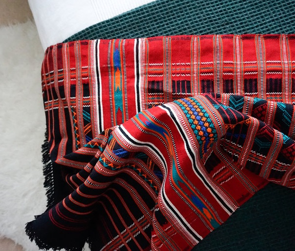 Nomad Handwoven Geometric Throw in Red and Black