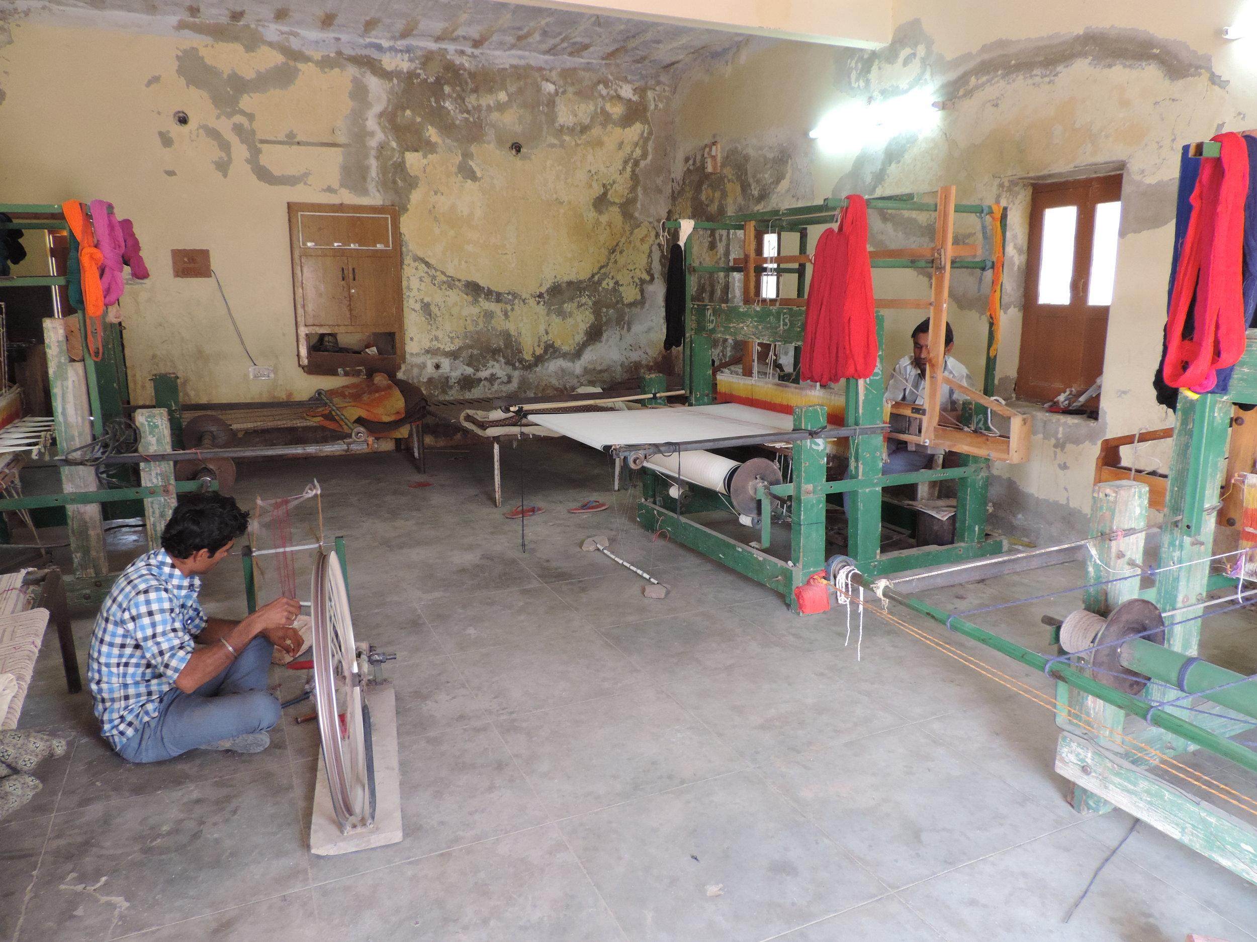 Weavers in a workshop