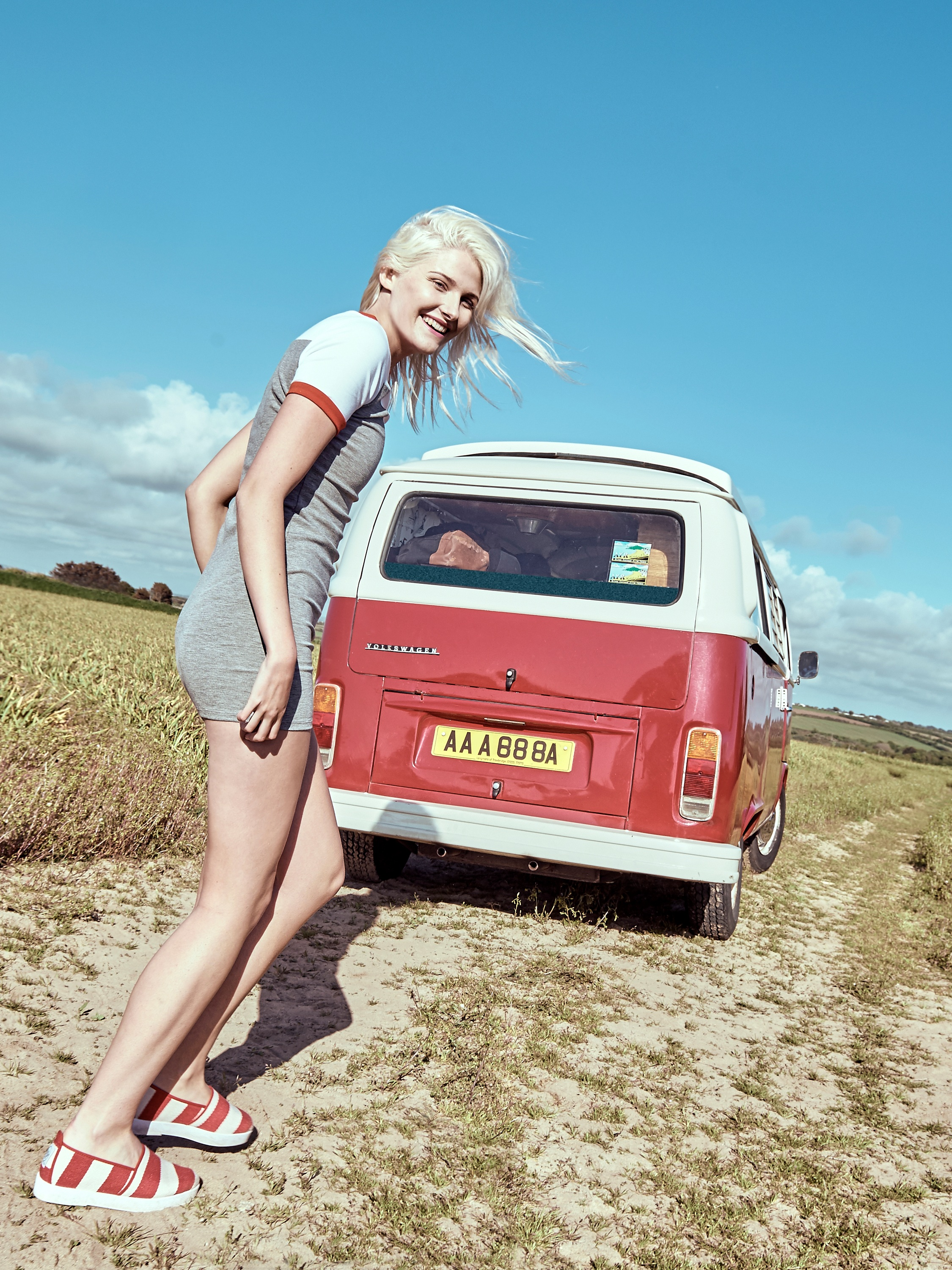 shoe-campaign-female-model-retro-campervan