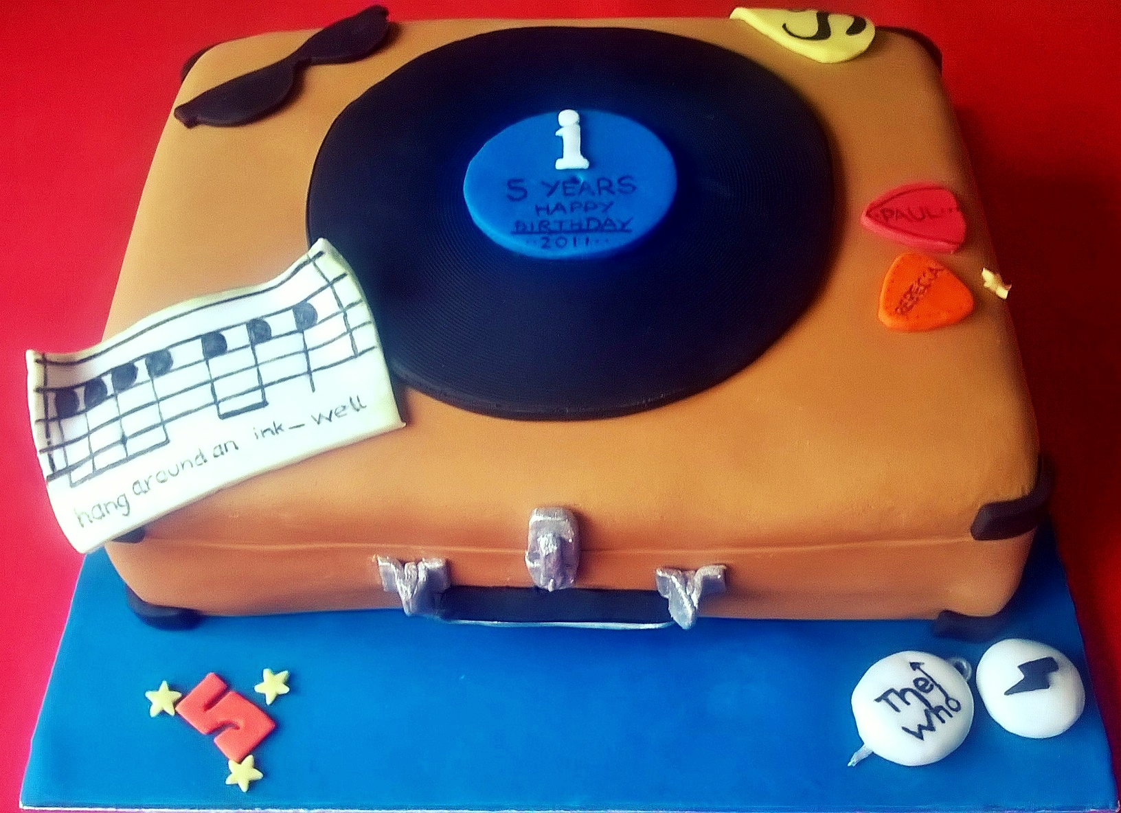 Cake for a record shop's 5th birthday!