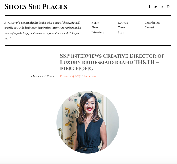 Shoes Sees Places interview our Co Founder Ping. February 2017