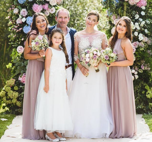 Laura's gorgeous bridesmaids in  Olympia Smoked Orchid .