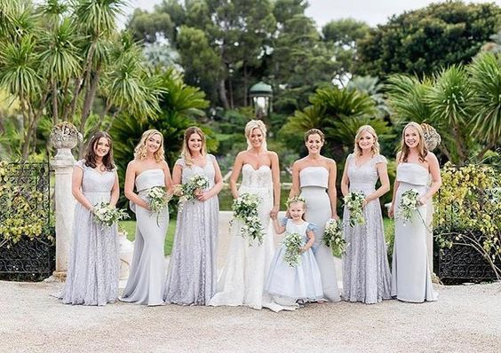 Bespoke Charlotte gowns in Silver Mist for this incredible French Riviera wedding. Photo by  Claire Morris Photography